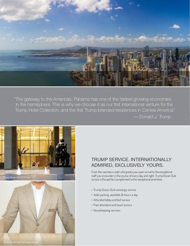 TRUMP SERVICE. INTERNATIONALLYADMIRED, EXCLUSIVELY YOURS.From the courteous valet who greets you upon arrival to the excep...