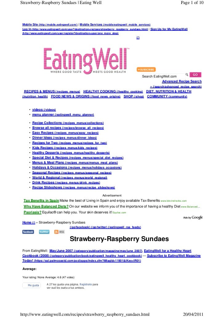 Strawberry-Raspberry Sundaes | Eating Well                                                                            Page...