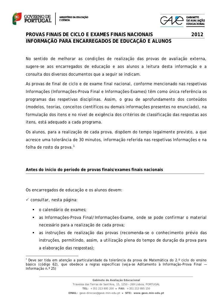 PROVAS FINAIS DE CICLO E EXAMES FINAIS NACIONAIS                                                                    2012IN...
