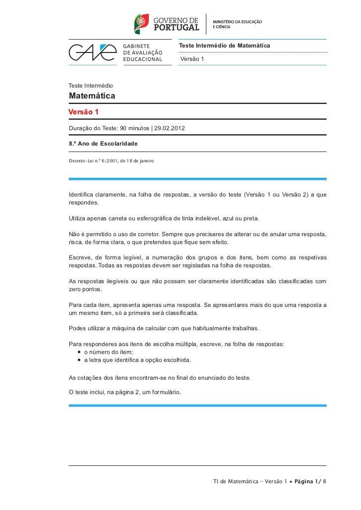 Teste Intermédio de Matemática                                           Versão 1Teste IntermédioMatemáticaVersão 1Duração...