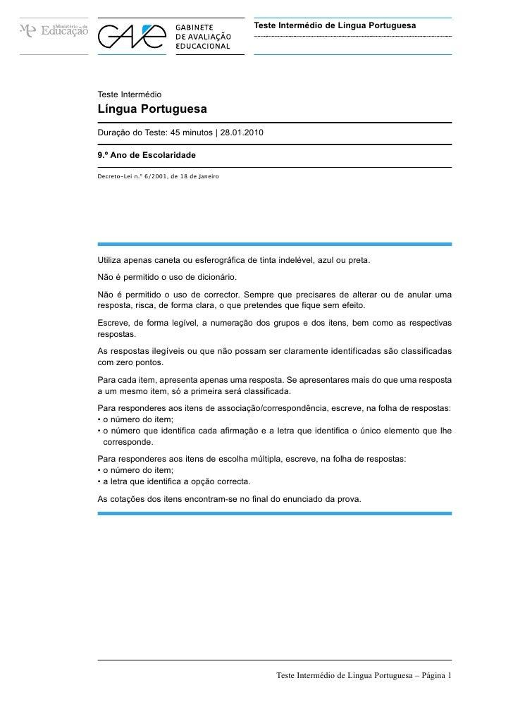 Teste Intermédio de Língua Portuguesa                                           Versão 1Teste IntermédioLíngua PortuguesaD...