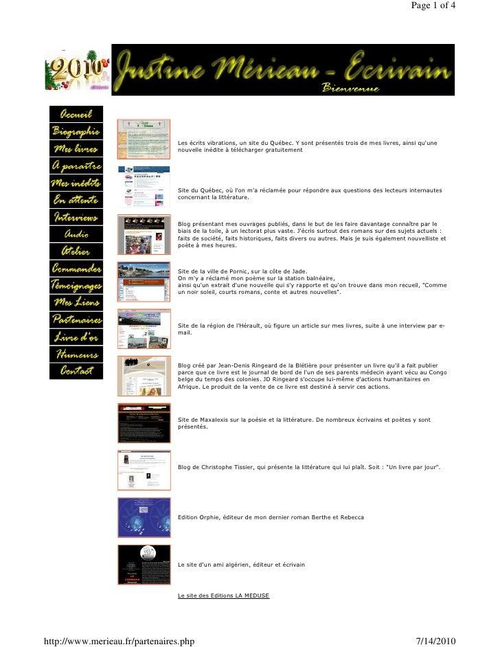 Page 1 of 4                                     Les écrits vibrations, un site du Québec. Y sont présentés trois de mes li...