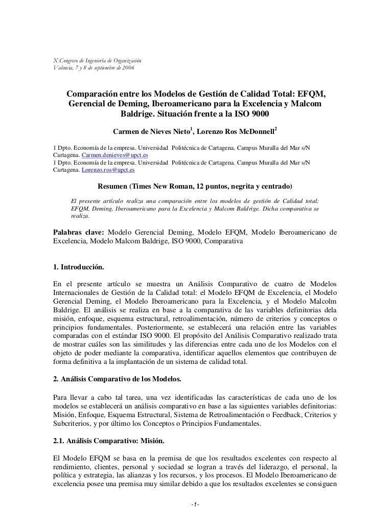 X Congreso de Ingeniería de OrganizaciónValencia, 7 y 8 de septiembre de 2006      Comparación entre los Modelos de Gestió...