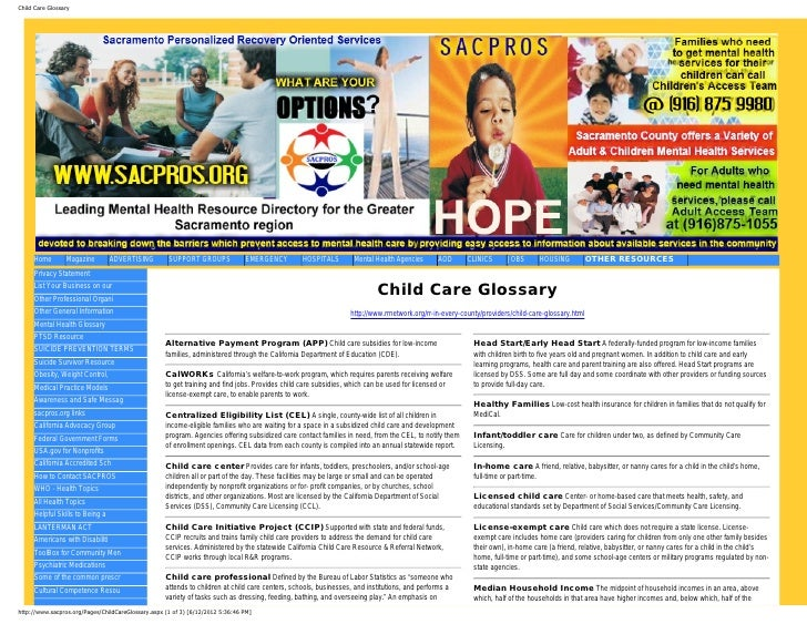 Child Care Glossary     Home        Magazine        ADVERTISING         SUPPORT GROUPS             EMERGENCY        HOSPIT...