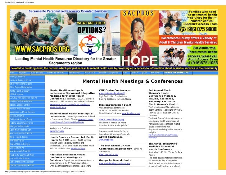 Mental Health meetings & conferences     Home       Magazine         ADVERTISING        SUPPORT GROUPS              EMERGE...