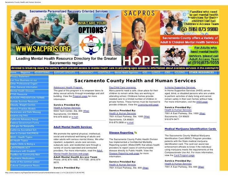 Sacramento County Health and Human Services      Home        Magazine         ADVERTISING             SUPPORT GROUPS      ...