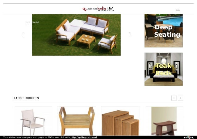 LATEST PRODUCTS DeepDeep SeatingSeating TeakTeak BedsBeds Your Visitors Can  Save Your Web Pages As PDF In ...