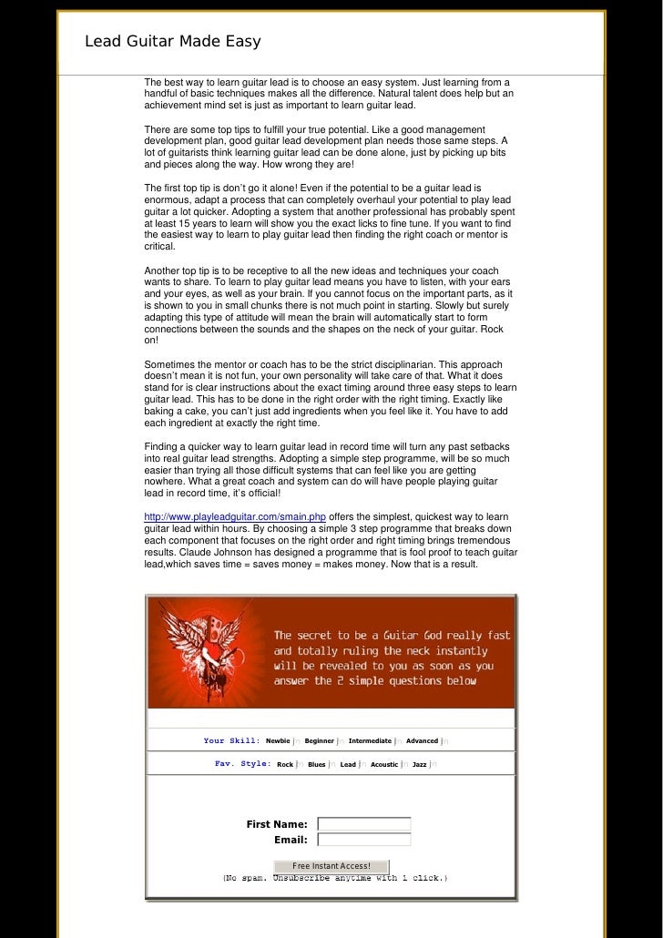 Lead Guitar Made Easy         The best way to learn guitar lead is to choose an easy system. Just learning from a      ...