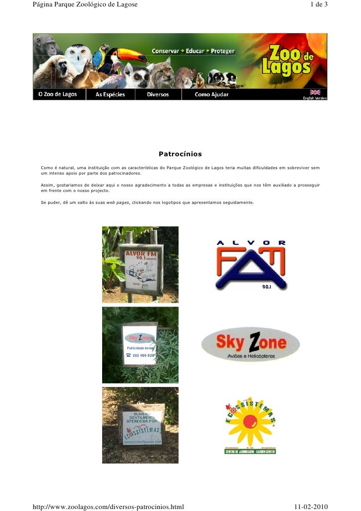 Página Parque Zoológico de Lagose                                                                                         ...