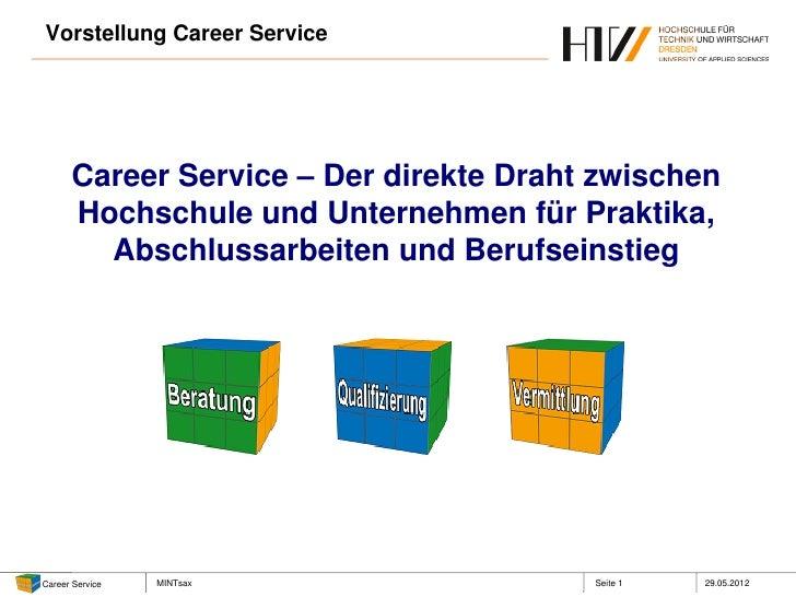 Vorstellung Career Service      Career Service – Der direkte Draht zwischen      Hochschule und Unternehmen für Praktika, ...