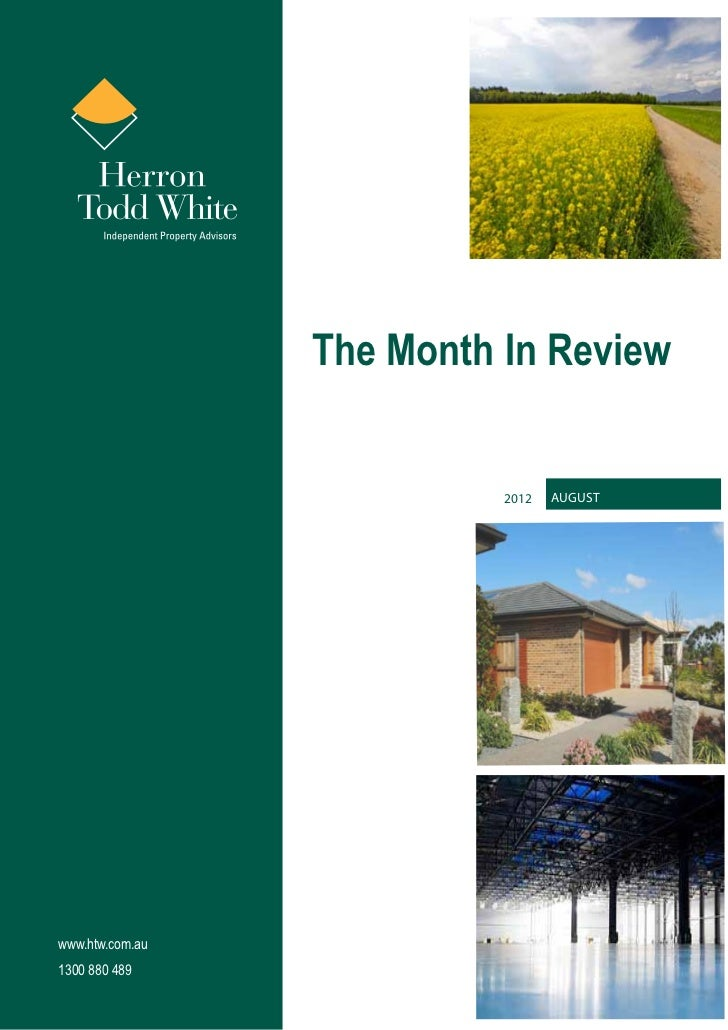 The Month In Review                           2012   Augustwww.htw.com.au1300 880 489
