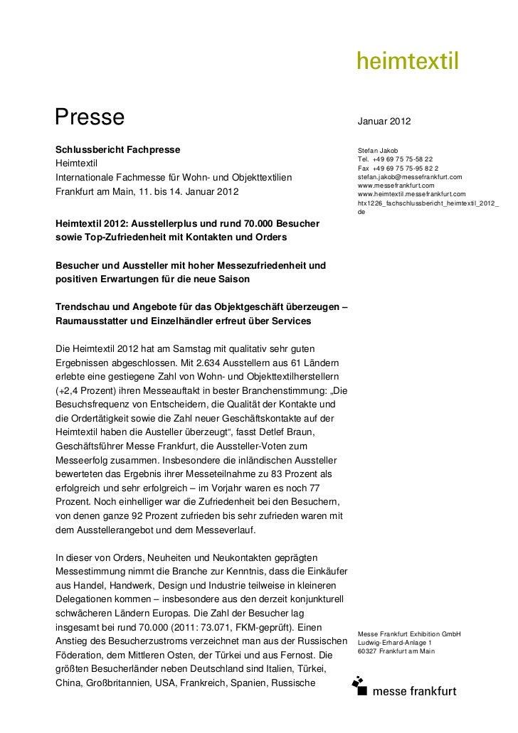 Presse                                                               Januar 2012Schlussbericht Fachpresse                 ...