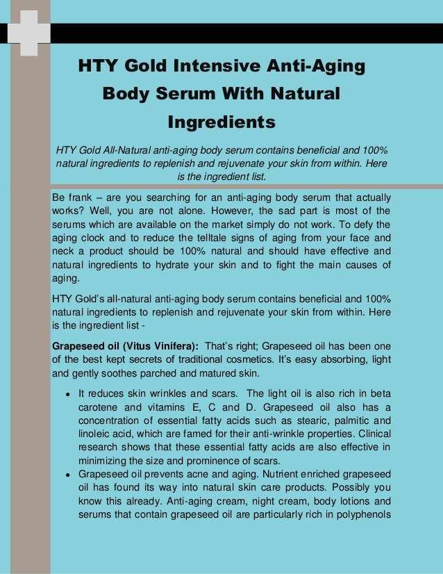 HTY Gold Intensive Anti-AgingBody Serum With NaturalIngredientsHTY Gold All-Natural anti-aging body serum contains benefic...