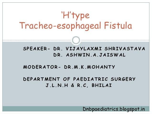 """H""typeTracheo-esophageal FistulaSPEAKER- DR. VIJAYLAXMI SHRIVASTAVA         DR. ASHWIN.A.JAISWALMODERATOR- DR.M.K.MOHANTY..."