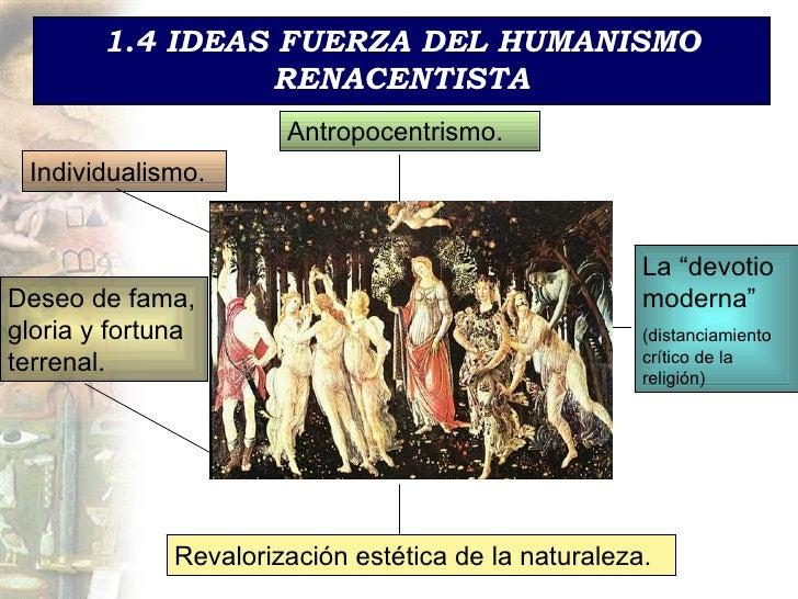 1.4 IDEAS FUERZA DEL HUMANISMO RENACENTISTA Antropocentrismo. Individualismo. Deseo de fama, gloria y fortuna terrenal. La...