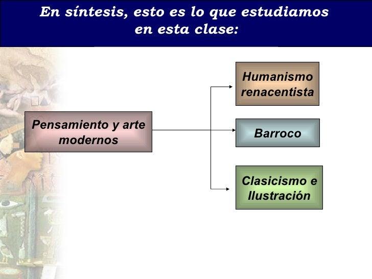 En s íntesis, esto es lo que estudiamos  en esta clase: Pensamiento y arte modernos Humanismo renacentista Barroco Clasici...