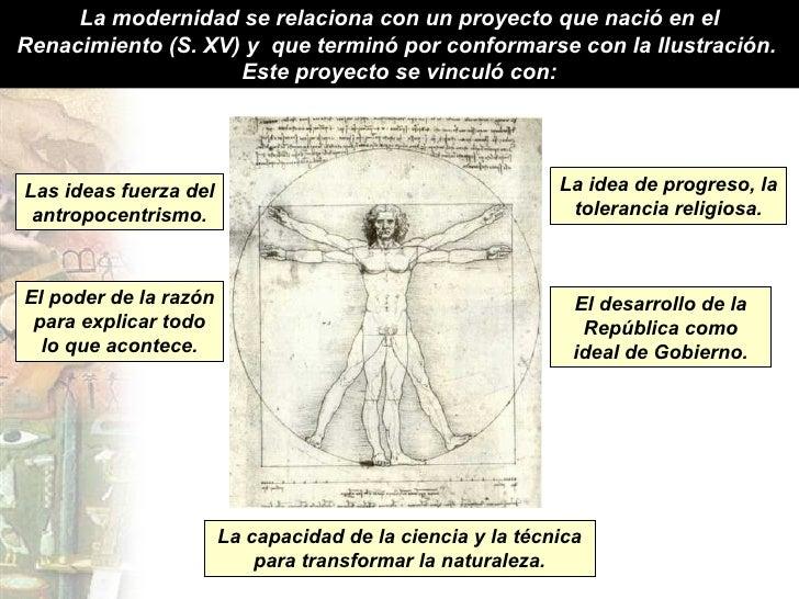 La modernidad se relaciona con un proyecto que nació en el Renacimiento (S. XV) y  que terminó por conformarse con la Ilus...