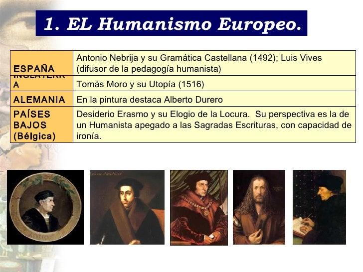 1. EL Humanismo Europeo. Desiderio Erasmo y su Elogio de la Locura.  Su perspectiva es la de un Humanista apegado a las Sa...