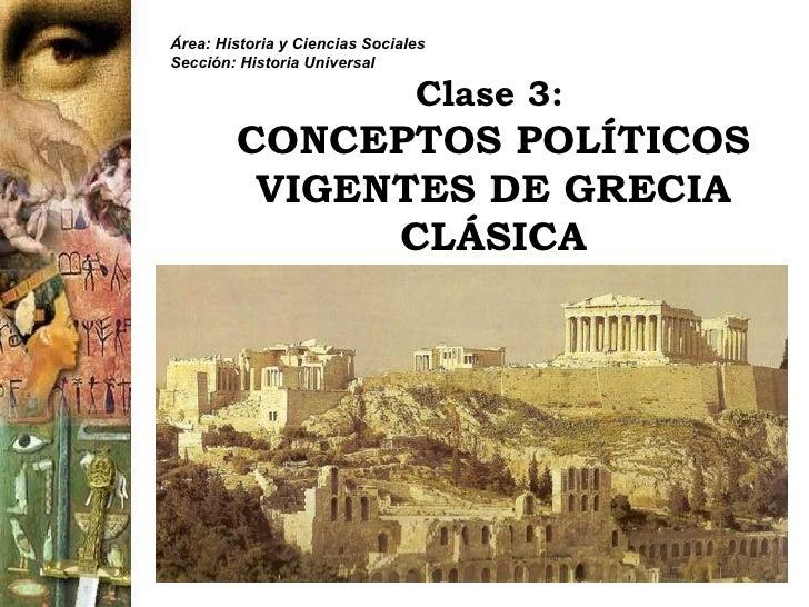 Clase 3:   CONCEPTOS POLÍTICOS VIGENTES DE GRECIA CLÁSICA Área: Historia y Ciencias Sociales Sección: Historia Universal