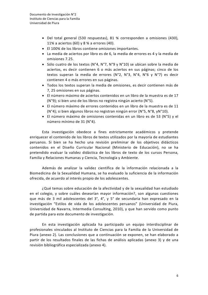 DocumentodeInvestigaciónN°2InstitutodeCienciasparalaFamiliaUniversidaddePiura                  • Del total...
