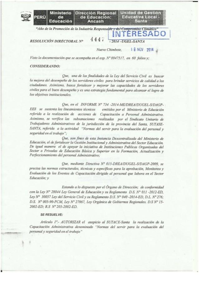 SEMINARIO TALLER DE CAPACITACION ADMINISTRATIVA 2014 ORGANIZA SUTACE SANTA AUTORIZADO POR LA UGEL SANTA