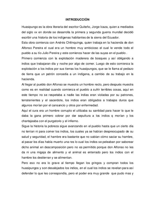 Huasipungo proyecto for Resumen del libro quimica en la cocina