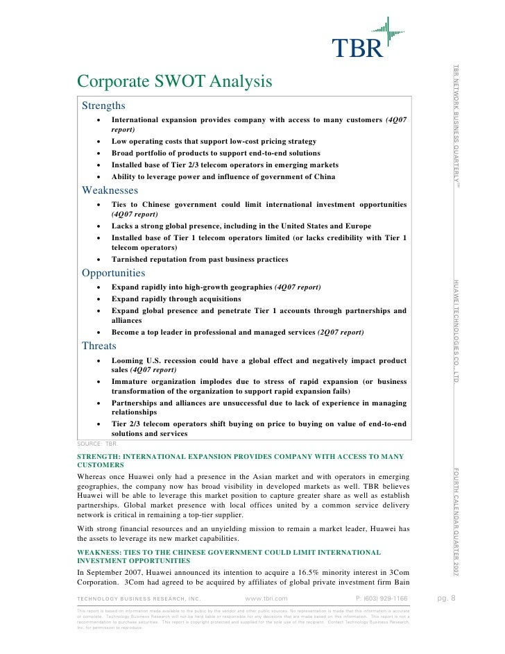 huawei swot What is a swot analysis it is a way of evaluating the strengths, weaknesses, opportunities, and threats that affect something see wikiwealth's swot tutorial for help.