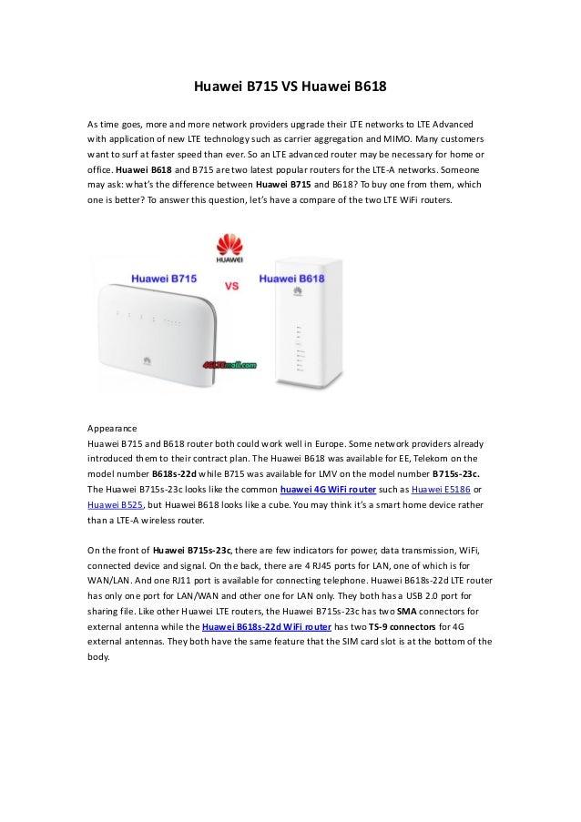 Huawei b715 vs huawei b618 lte router