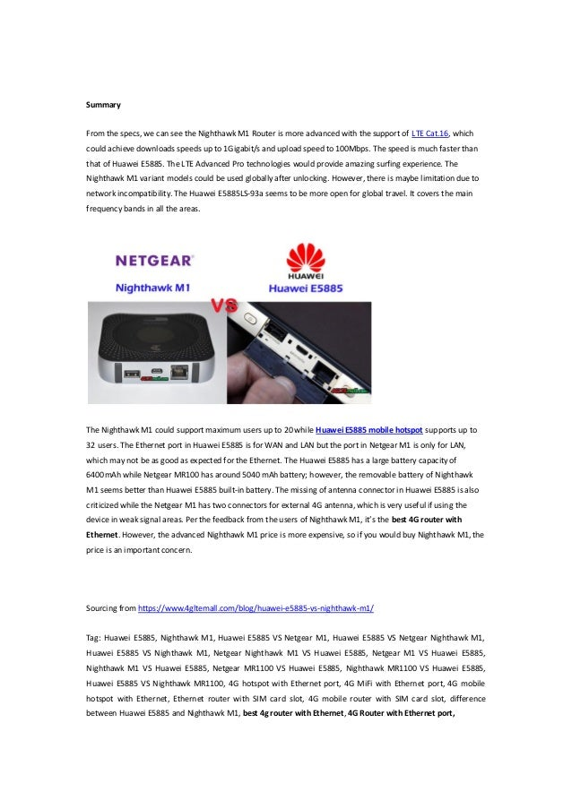 Huawei E5885 VS Netgear Nighthawk M1 Unlocked