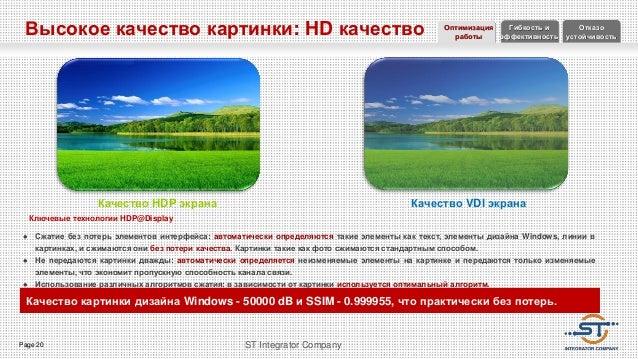 Page 20 ST Integrator Company Высокое качество картинки: HD качество Качество HDP экрана Ключевые технологии HDP@Display ...