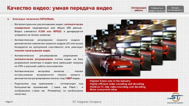 Page 21 ST Integrator Company Качество видео: умная передача видео  Ключевые технологии HDP@Media  Интеллектуальное расп...