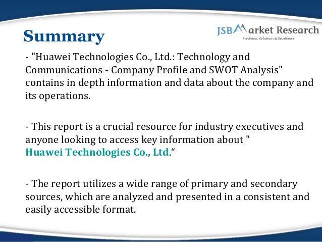 Company Profile of Huawei Technologies Co., Ltd. : JSBMarketResearch  Slide 2