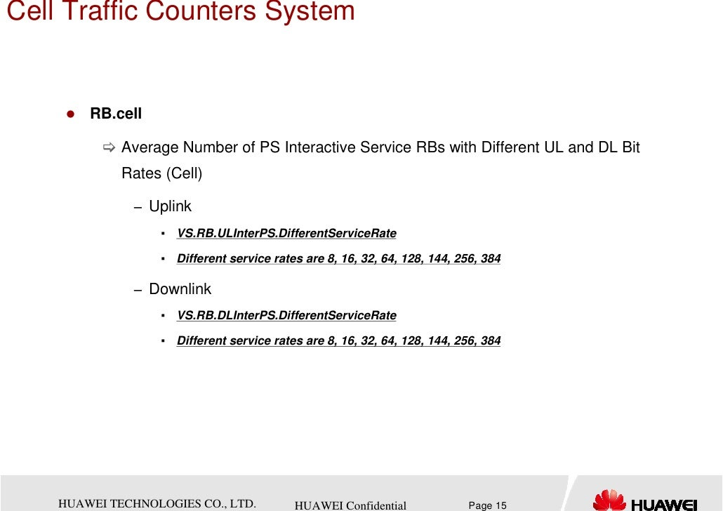 Cell Traffic Counters System        RB.cell             Average Number of PS Interactive Service RBs with Different UL and...
