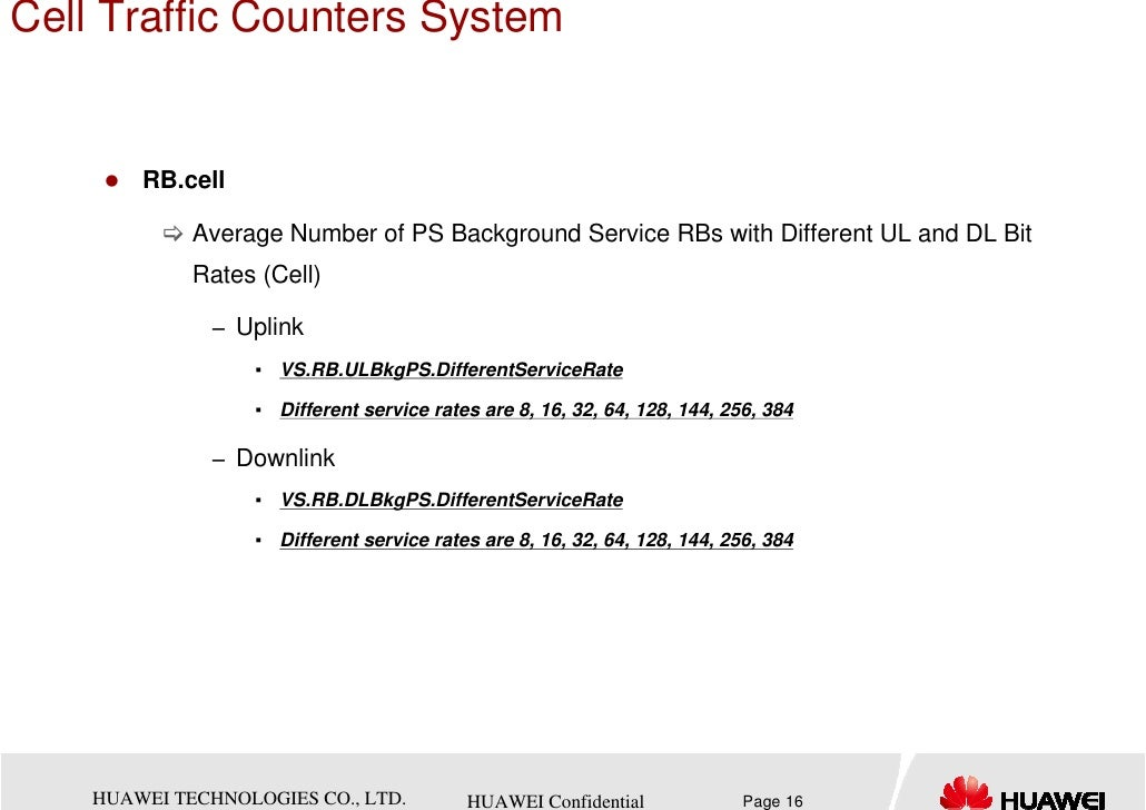 Cell Traffic Counters System        RB.cell             Average Number of PS Background Service RBs with Different UL and ...