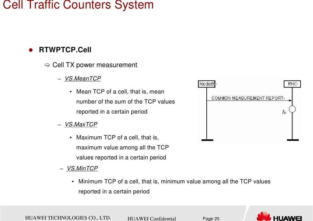 Cell Traffic Counters System        RTWPTCP.Cell             Cell TX power measurement              − VS.MeanTCP          ...