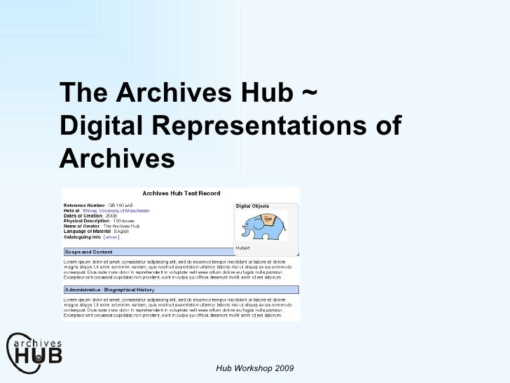 The Archives Hub ~ Digital Representations of Archives