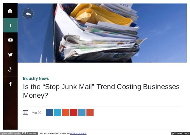 "Is The ""Stop Junk Mail"" Trend Costing Businesses Money?"