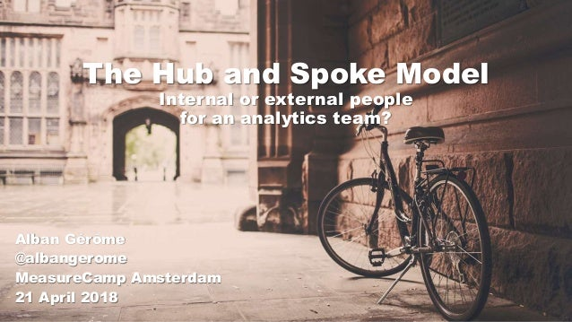 The Hub and Spoke Model Internal or external people for an analytics team? Alban Gérôme @albangerome MeasureCamp Amsterdam...