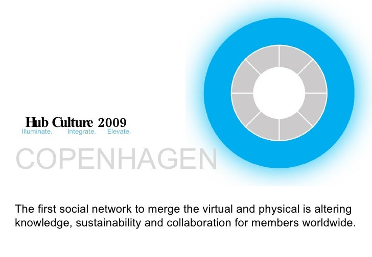 Hub Culture 2009 Illuminate.  Integrate.  Elevate. The first social network to merge the virtual and physical is altering ...