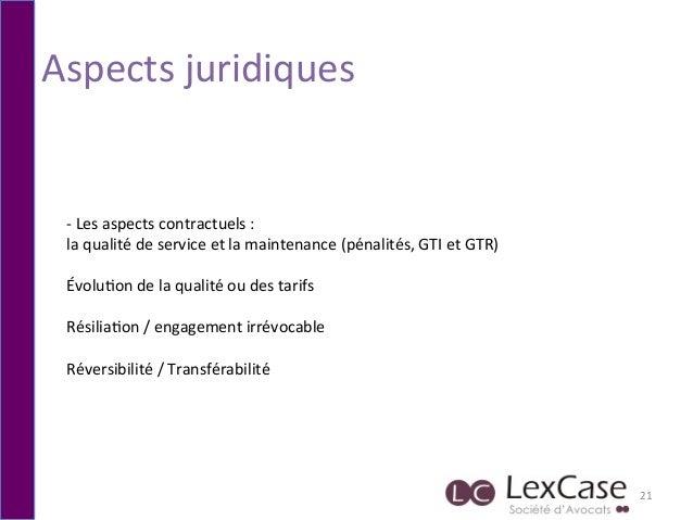 Aspects  juridiques   21   -‐  Les  aspects  contractuels  :     la  qualité  de  service  et ...