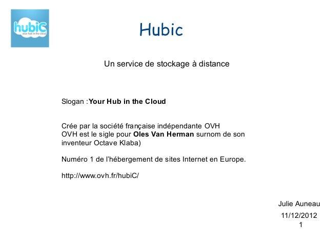 Hubic             Un service de stockage à distanceSlogan :Your Hub in the CloudCrée par la société française indépendante...