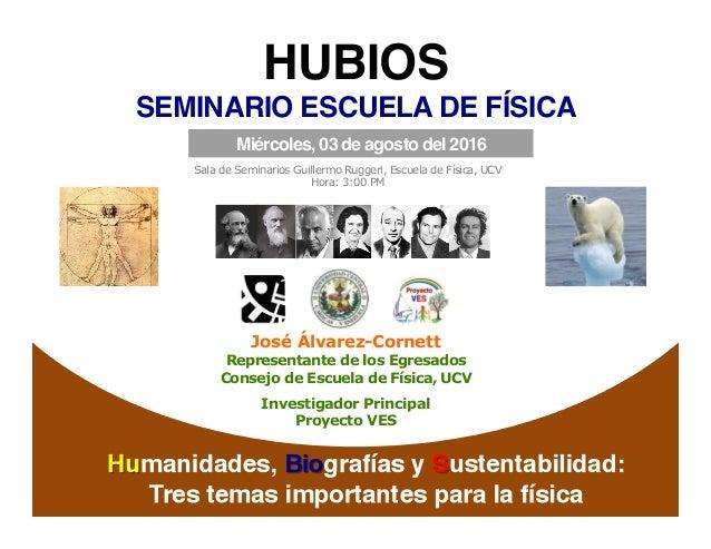 aris%d   HUBIOS! SEMINARIO ESCUELA DE FÍSICA ! José Álvarez-Cornett Representante de los Egresados Consejo de Escuela de...