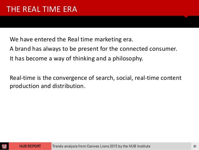 THE  REAL  TIME  ERA Trends analysis from Cannes Lions 2015 by the HUB Institute 31 We  have  entered  the  ...