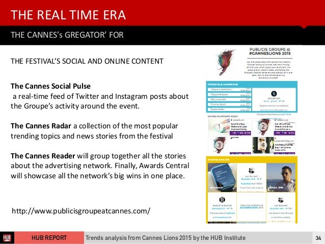 THE  CANNES's  GREGATOR'  FOR THE  REAL  TIME  ERA Trends analysis from Cannes Lions 2015 by the HUB Institute...