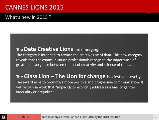 What's  new  in  2015  ? CANNES  LIONS  2015   Trends analysis from Cannes Lions 2015 by the HUB Institute 4...