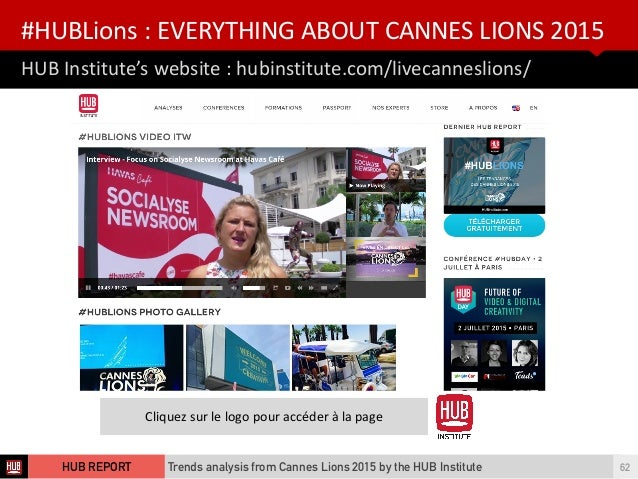 HUB  Institute's  website  :  hubinstitute.com/livecanneslions/ #HUBLions  :  EVERYTHING  ABOUT  CANNES  ...