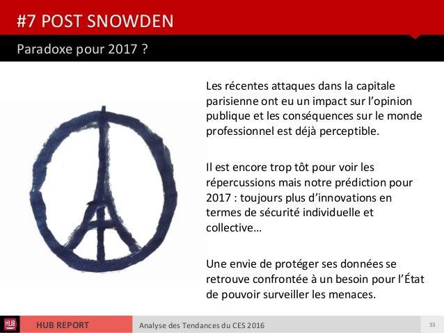 Analyse des Tendances du CES 2016HUB REPORT Analyse des Tendances du CES 2016HUB REPORT Paradoxe pour 2017 ? #7 POST SNOWD...