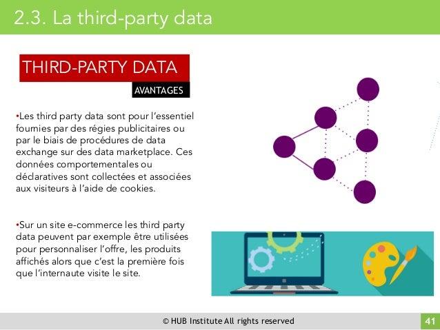 © HUB Institute All rights reserved 41 2.3. La third-party data •Les third party data sont pour l'essentiel fournies par d...