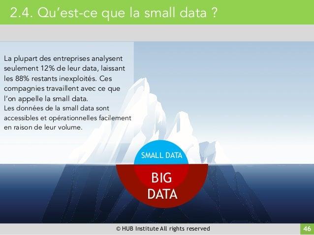 © HUB Institute All rights reserved 46 2.4. Qu'est-ce que la small data ? La plupart des entreprises analysent seulement 1...