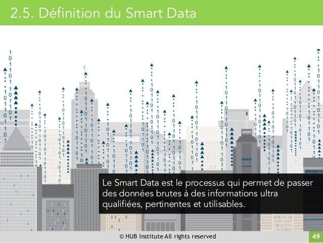 © HUB Institute All rights reserved 49 Le Smart Data est le processus qui permet de passer des données brutes à des inform...